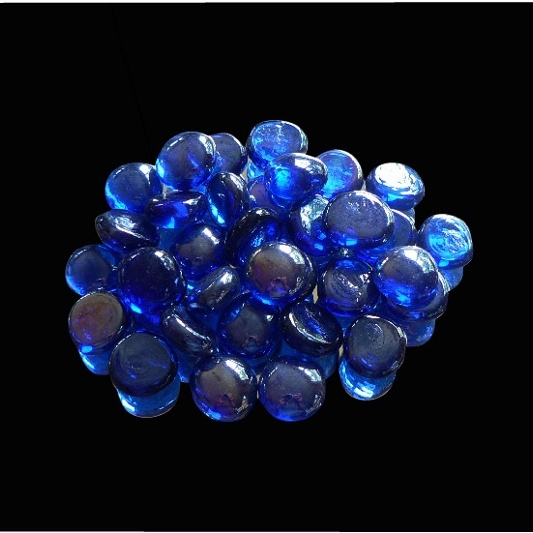 20mm Glass Nuggets Cobalt Blue Iridized