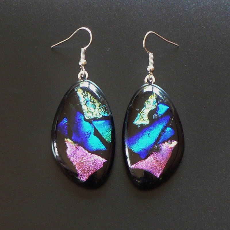 Large Dichroic Glass Drop Earrings