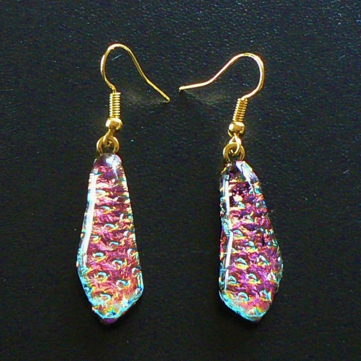Small Dichroic Glass Drop Earrings