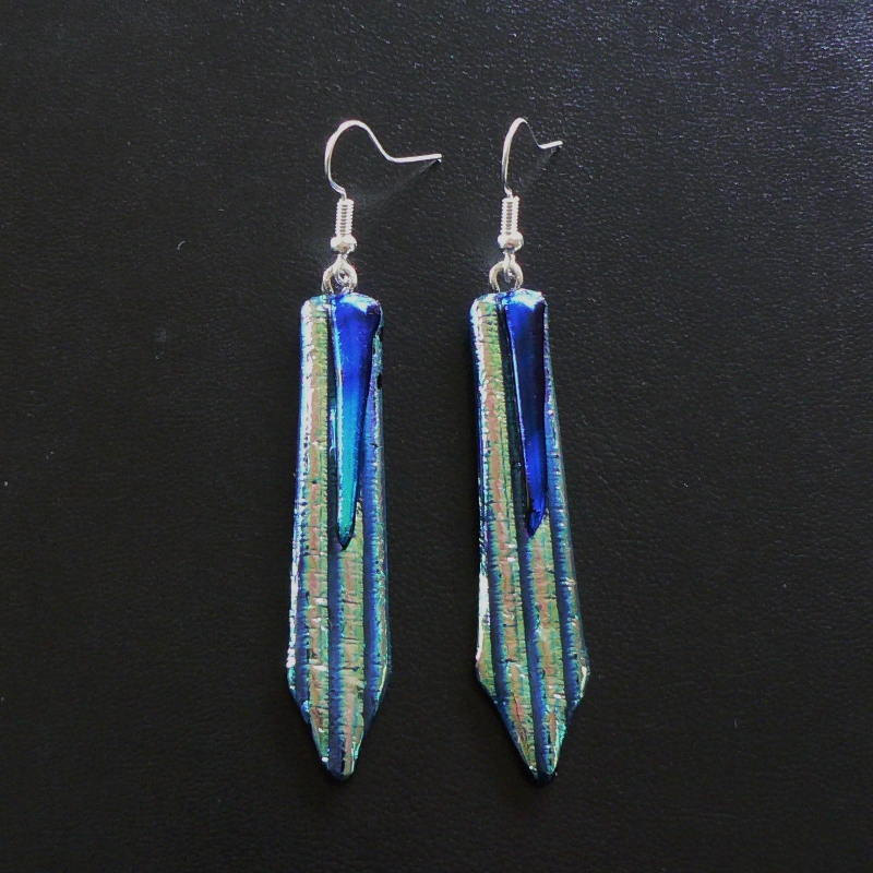 Dichroic Glass Drop Earrings – Champagne Gold, Teal & Blue