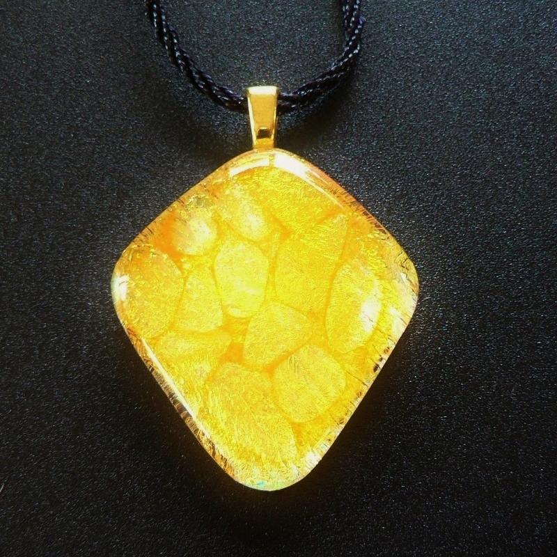 Dichroic Glass Pendant – Tangerine Tango