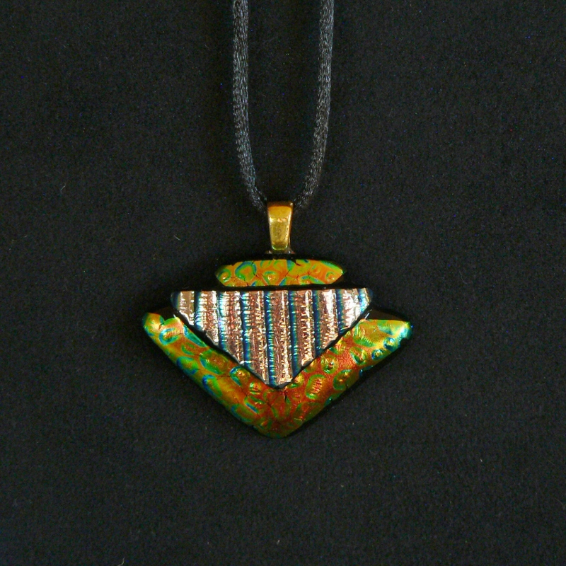 Dichroic Glass Pendant – Golden Pyramids