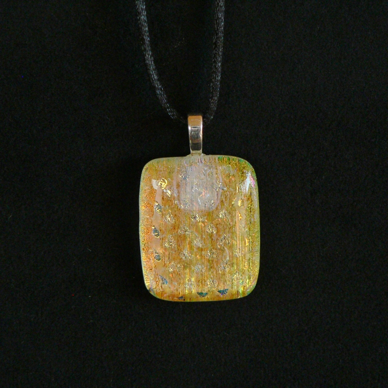 Dichroic Glass Pendant – Golden Stars