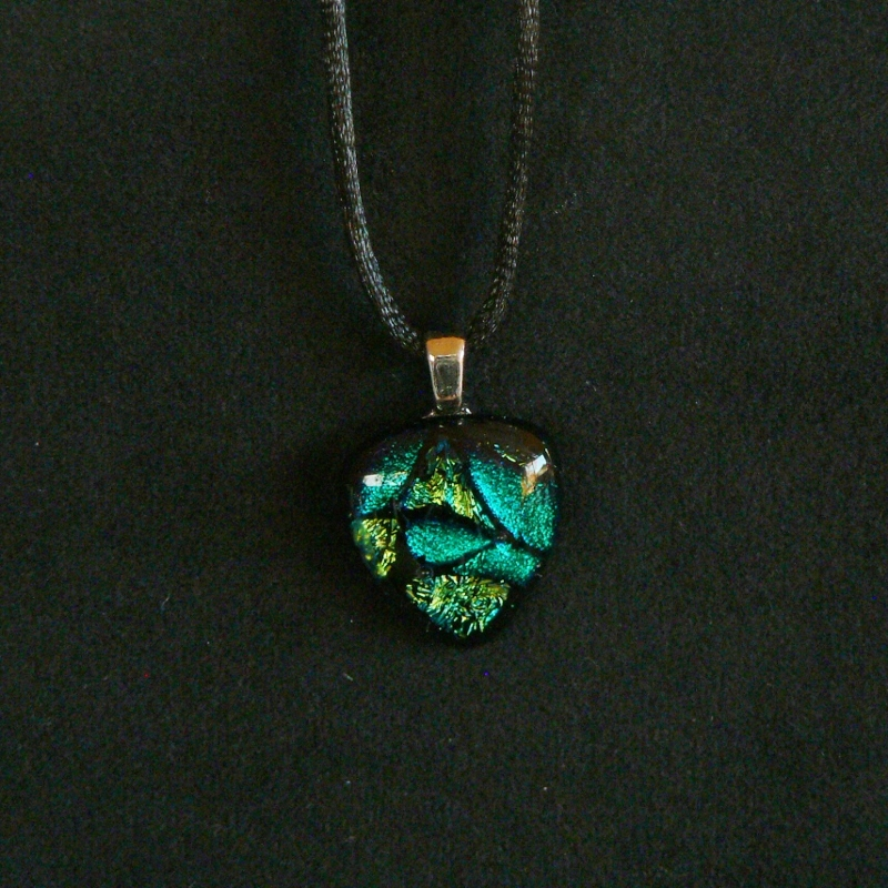 Dichroic Glass Pendant – Teal & Silver Yellow