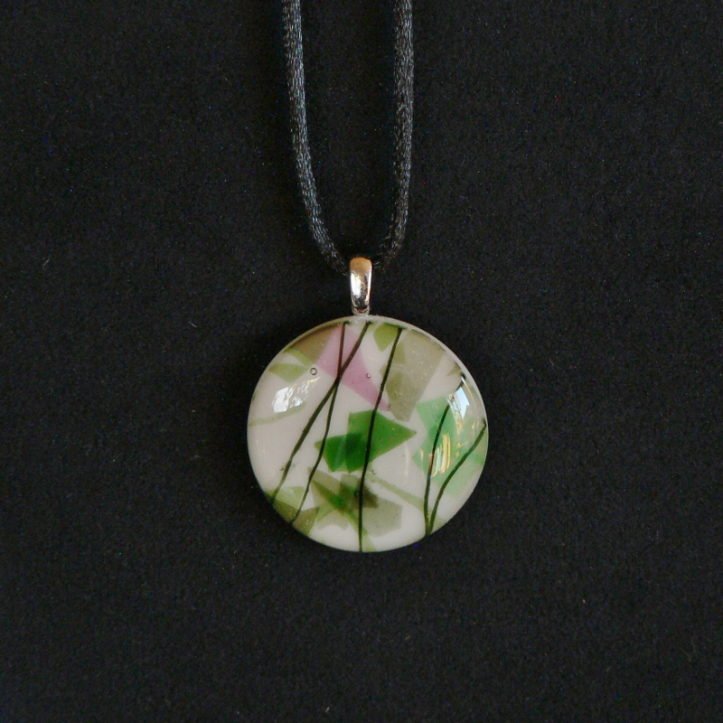Fused Glass Pendant – Fractures & Streamers