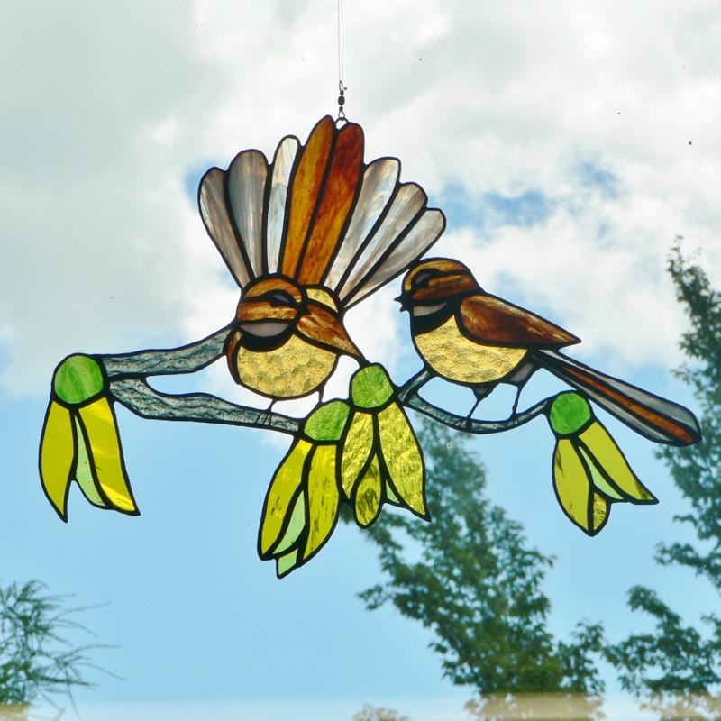 2 Fantails & Kowhai Flowers